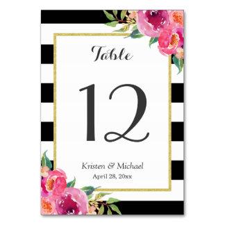 Carte Nombre blanc noir floral fuchsia de Tableau de