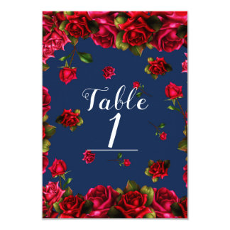 Carte Nombre bleu élégant de Tableau de roses rouges de