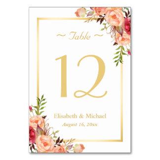 Carte Nombre chic floral de Tableau de mariage de rose