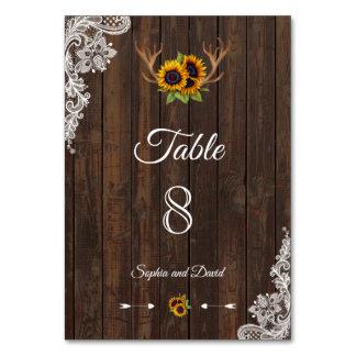 Carte NOMBRE de TABLE en bois de mariage d'andouillers