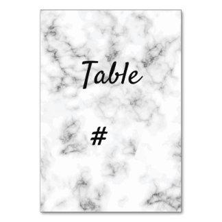 Carte Nombre élégant de table de mariage de marbre et