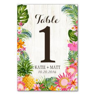 Carte Nombre en bois rustique floral tropical de Tableau