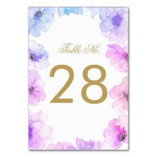Carte Nombre floral bleu et pourpre de Tableau de