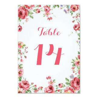 Carte Nombre floral de Tableau de mariage d'aquarelle