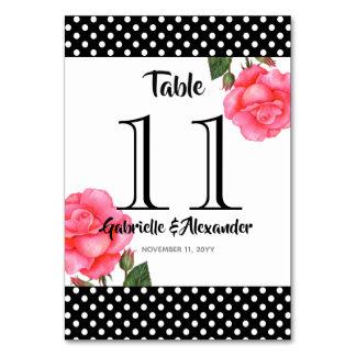 Carte Nombre floral de Tableau de mariage de rose de
