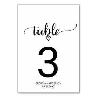 Carte Nombre noir et blanc de Tableau de mariage de