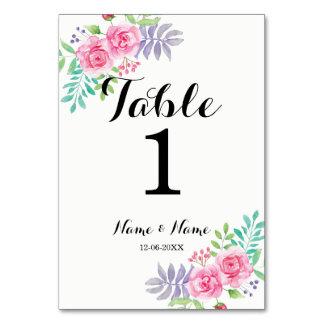 Carte Nombres de Tableau épousant les fleurs roses de