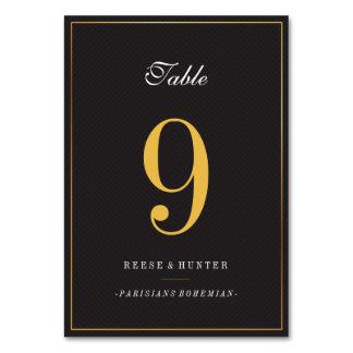 Carte Nombres élégants de Tableau de mariage d'or noir
