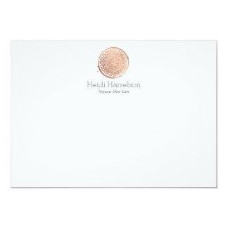 Carte Note plate de beauté de mandala d'or rose élégant