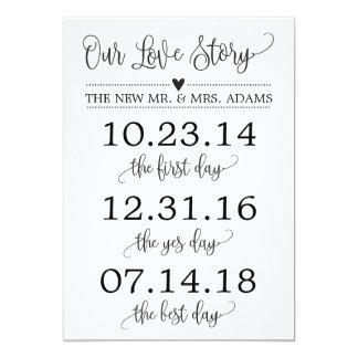 Carte Notre décor de signe de mariage de chronologie de