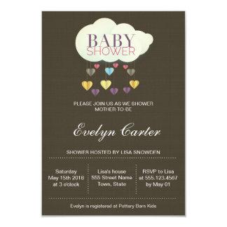 Carte Nuages et baby shower des coeurs | de papier