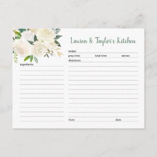 Carte nuptiale florale crème blanche de recette d