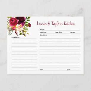 Carte nuptiale florale de recette de douche de