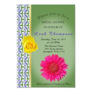 Carte nuptiale jaune de douche de fleur de rose carton d'invitation 8,89 cm x 12,70 cm