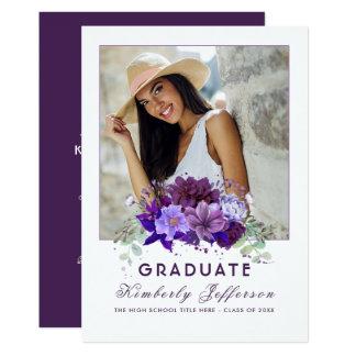 Carte Obtention du diplôme florale pourpre violette de