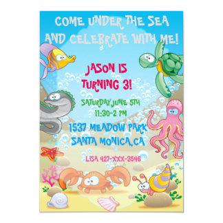 Carte Océan coloré sous l'invitation d'anniversaire de