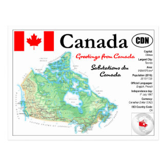 Carte of Canada with facts