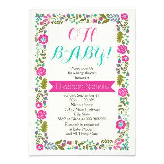 Carte Oh aqua de baby shower, frontière florale moderne