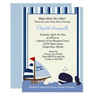 Carte Oh baby shower 5x7 de baleine de rayure bleue de