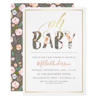 Carte Oh blanc moderne du bébé | et baby shower floral