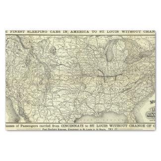Carte Ohio et chemin de fer du Mississippi Papier Mousseline
