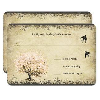 Carte Oiseaux vintages d'arbre de rose de feuille de
