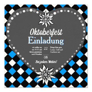 Carte Oktoberfest noir et blanc et bleu