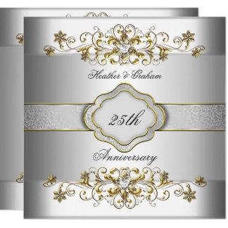 Carte Or blanc argenté Templat de 25ème anniversaire