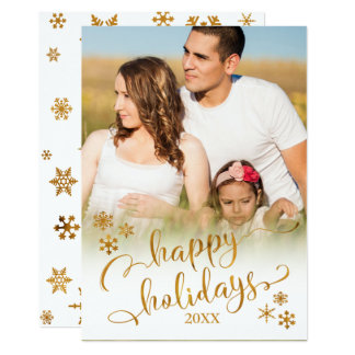 Carte Or bonnes fêtes avec la photo et les flocons de