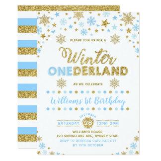 Carte Or de bleu d'invitation d'anniversaire