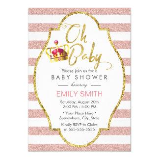 Carte Or de couronne de baby shower et rayures modernes
