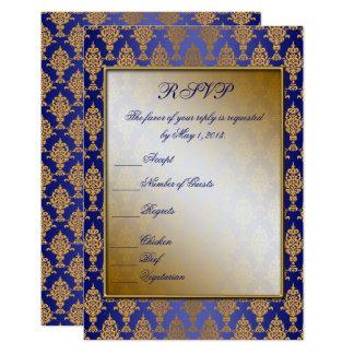 Carte Or de damassé sur l'éclat de bleu royal