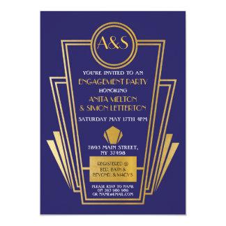 Carte or de Gatsby d'invitation de partie de fiançailles