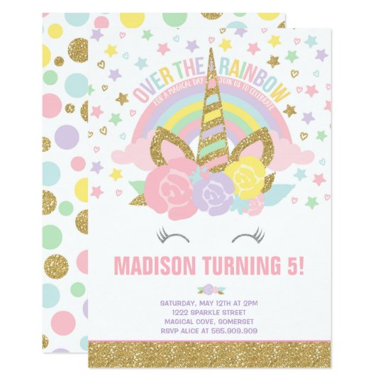 Carte Or de rose d'invitation d'anniversaire de licorne | Zazzle.fr