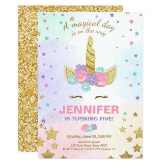 Carte Or de rose d'invitation d'anniversaire de licorne