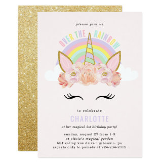 Carte Or de rose d'invitation d'anniversaire de licorne