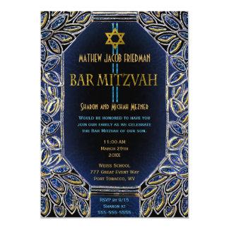 Carte Or et bleu de Mitzvah de barre
