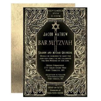 Carte Or et noir de Mitzvah de barre
