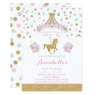 Carte Or floral de menthe de rose d'invitation