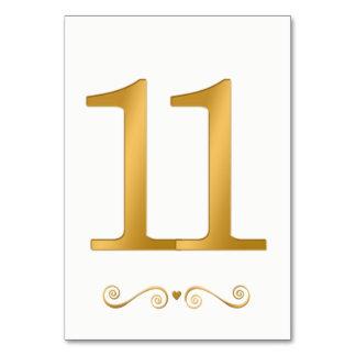 Carte Or lumineux élégant nombre métallique 11 de Faux