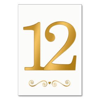 Carte Or lumineux élégant nombre métallique 12 de Faux