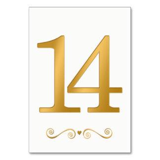 Carte Or lumineux élégant nombre métallique 14 de Faux