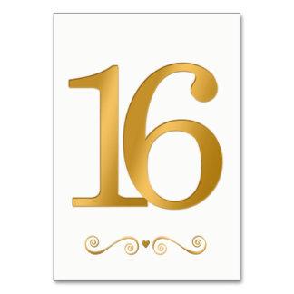 Carte Or lumineux élégant nombre métallique 16 de Faux