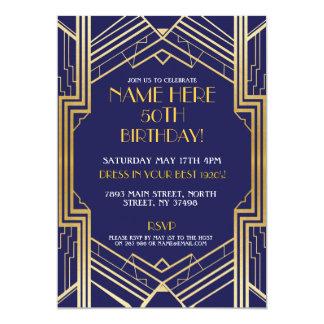 Carte Or Pary de Gatsby d'invitation d'anniversaire des