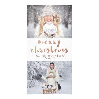 Carte Or rose de Faux du Joyeux Noël | avec deux photos