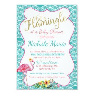 Carte Or rose turquoise d'invitation de baby shower de