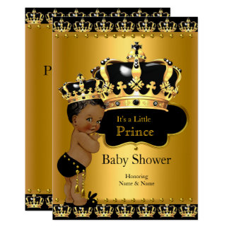 Carte Or royal de noir de prince baby shower ethnique