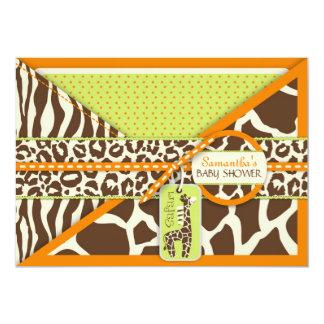 Carte orange 3 d'invitation de garçon de safari carton d'invitation  12,7 cm x 17,78 cm