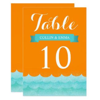 Carte Orange aux nombres nautiques de Tableau de mariage