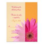 Carte orange et rose de réponse de mariage de invitations